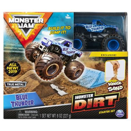 Monster Jam, Blue Thunder Monster Dirt Starter Set, Featuring 8oz of Monster Dirt and Official 1:64 Scale Die-Cast Monster Jam (Thunder Sonora Black Trucks)