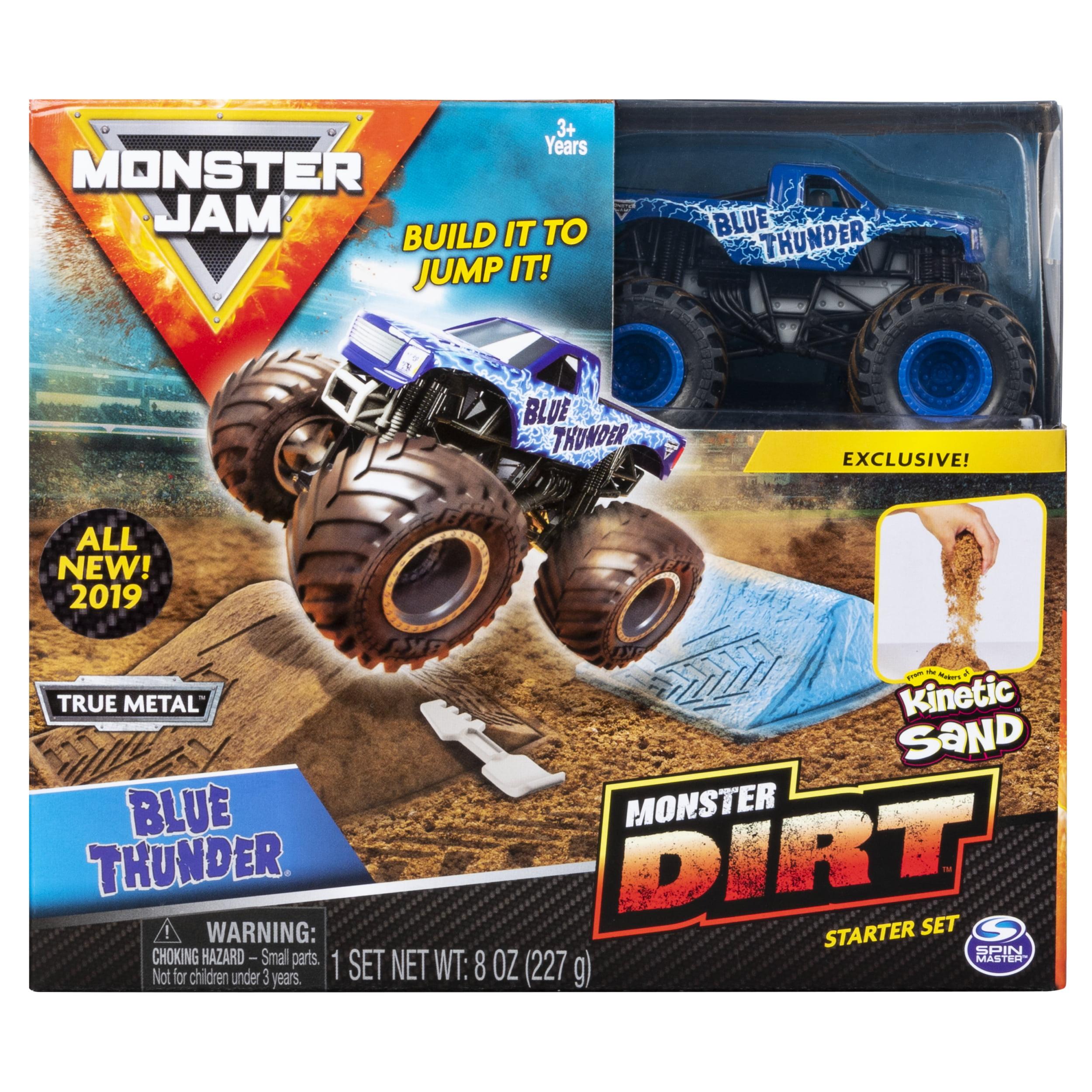 Monster Jam, Blue Thunder Monster Dirt Starter Set, Featuring 8oz of Monster Dirt and Official 1:64 Scale Die-Cast Monster Jam Truck