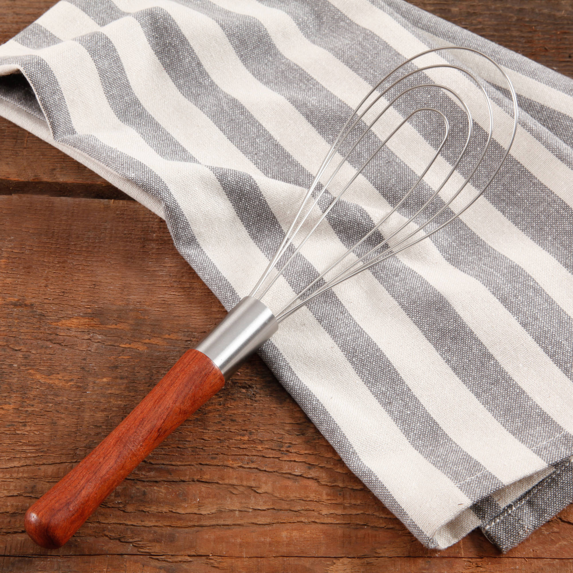 The Pioneer Woman Cowboy Rustic Rosewood Handle Flat Metal Whisk