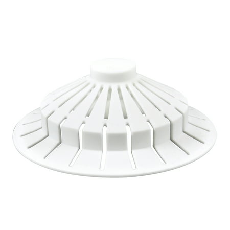 DANCO Bathroom Bathtub Hair Catcher Strainer Drain Cover with Suction Cup Design, White, 4 inch x 1.5 inch, 1-Pack
