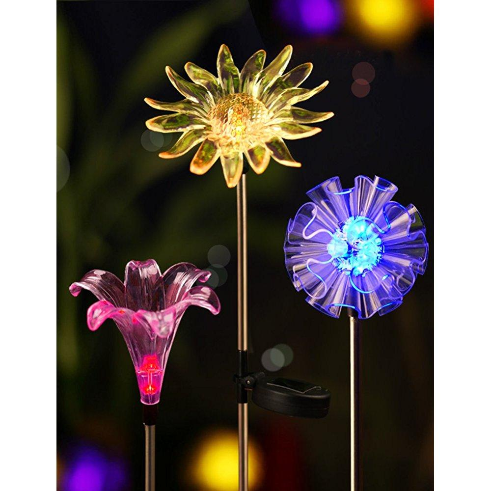 ... Bright Zeal [set Of 3] Led Color Changing Solar Stake Lights Outdoor    Solar