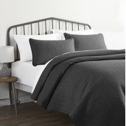 Gray Herring Pattern Quilted Coverlet Set, King / CalKing, by Noble Linens