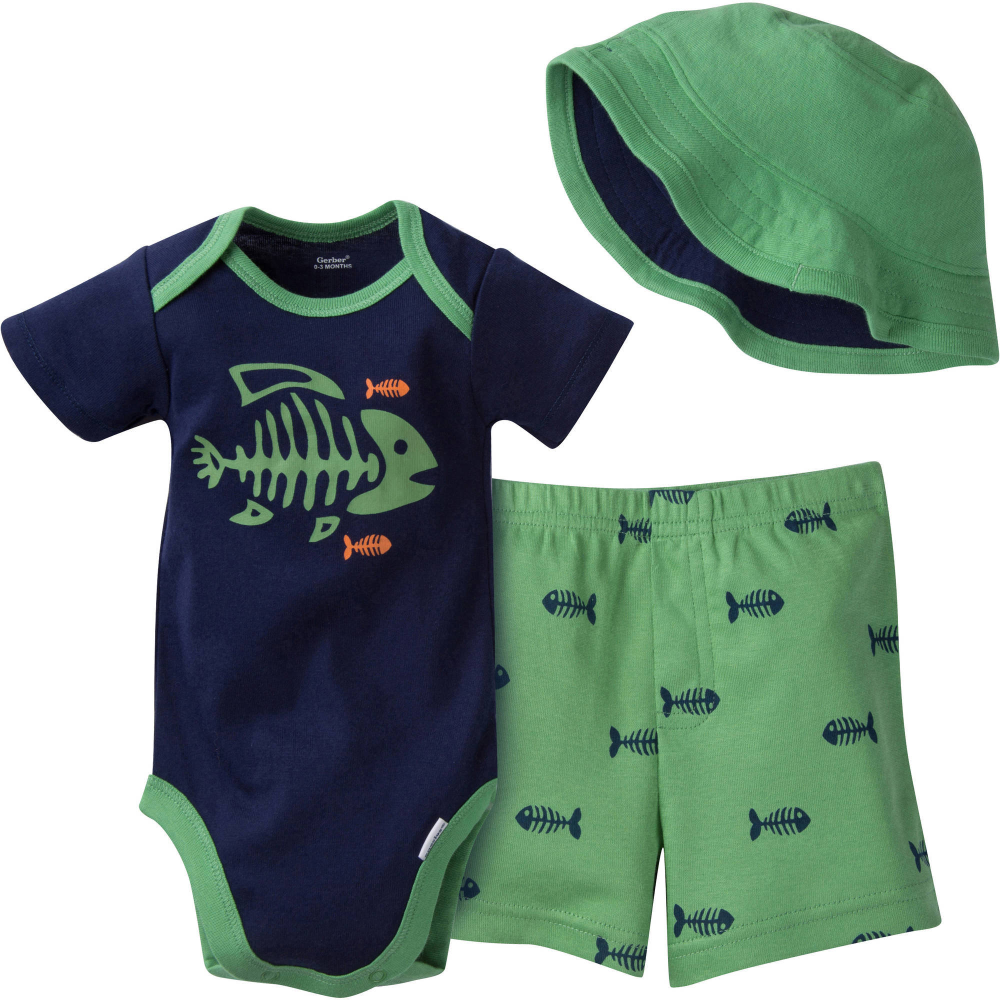 Gerber Newborn Baby Boy 3-Piece Bodysuit, Short and Hat Outfit Set