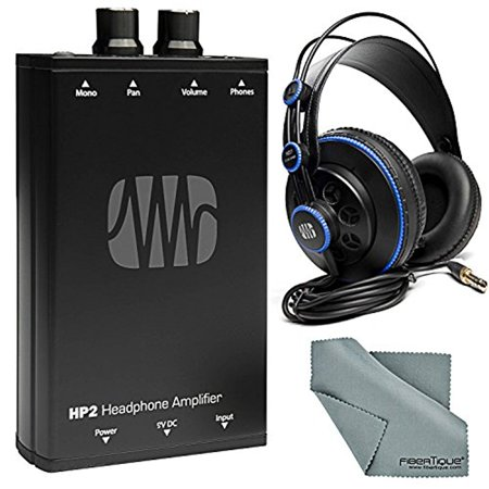 PreSonus HP2 Personal Stereo Headphone Amplifier and Accessory Bundle w/ PreSonus HD7 Professional Monitoring Headphones + Fibertique Cleaning Cloth