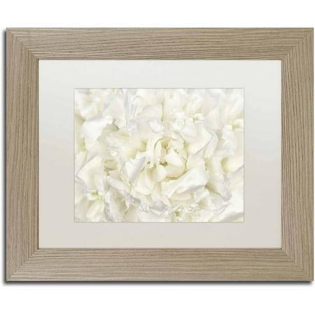 Trademark Fine Art 'White Peony Flower' Canvas Art by Cora Niele, White Matte, Birch Frame