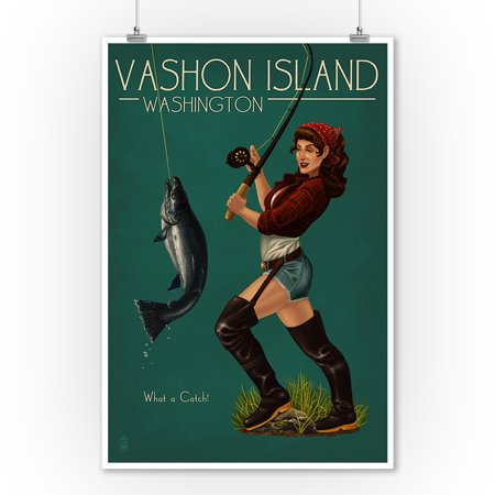 Vashon Island, Washington - Pinup Girl Salmon Fishing - Lantern Press Artwork (9x12 Art Print, Wall Decor Travel (Best Salmon Fishing In Washington State)