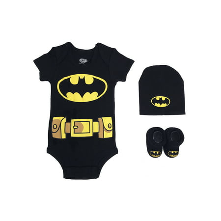 Newborn Gift Set Case - Batman Short Sleeve Bodysuit, Booties & Cap, 3-piece Layette Gift Set (Newborn Baby Boys)