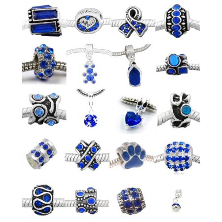 Ten 10 Of Orted Shades Dark Blue Crystal Rhinestone Charm Beads Compatible