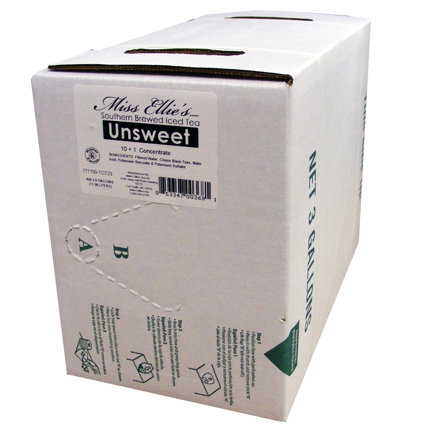 Miss Ellie's Unsweet Tea Bag-In-Box 3 gal.