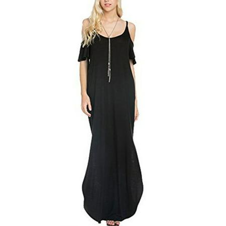 8980a91ffc16 Celmia - Women's Short Sleeve Spaghetti Straps Side Split Long Maxi Dresses  - Walmart.com