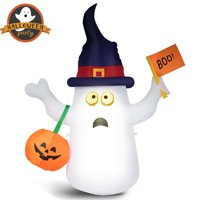 Gymax 5ft Water-proof Inflatable Cute Ghost Lantern Halloween Air-blow Wizard Decoration w/ LED & Adapter
