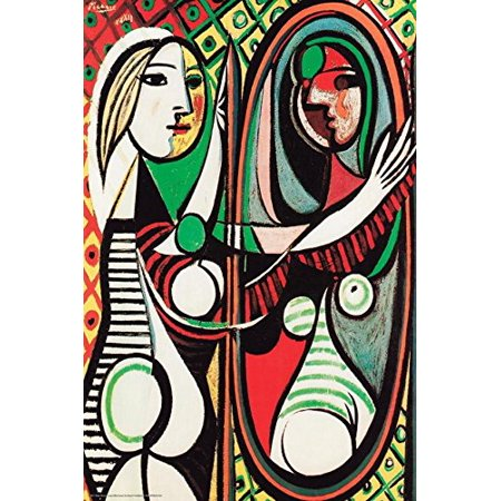 girl before a mirror 1932 juene fille devant un mirror by pablo picasso 24x16 museum art print. Black Bedroom Furniture Sets. Home Design Ideas