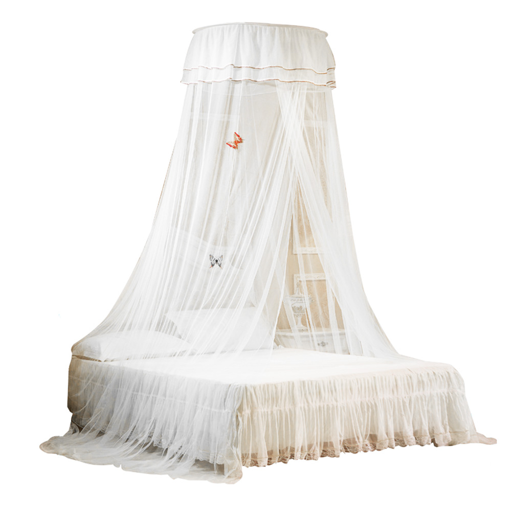 UARTER Boho Princess Mosquito Net Girls Mosquito Net Bed Canopy Bed Conical Curtains with Luminous Butterflies, White