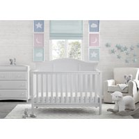 Delta Children Madrid 4-Piece Nursery Furniture Set (Includes Convertible Crib, Dresser with Changing Topper and Glider), Bianca White/Sand