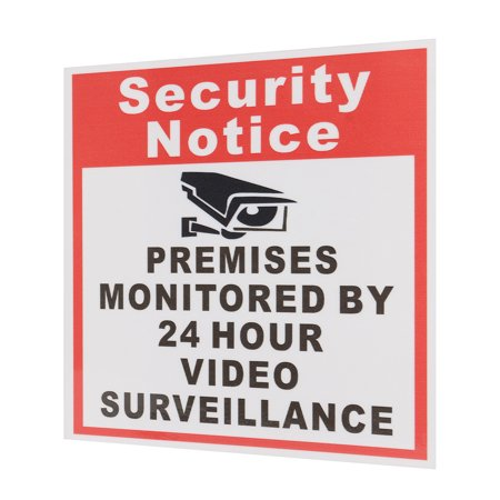 10pcs Security Notice Premises Monitored 24 Hour Video Surveillance Sign Sticker Safety Signs Decal - image 2 de 9