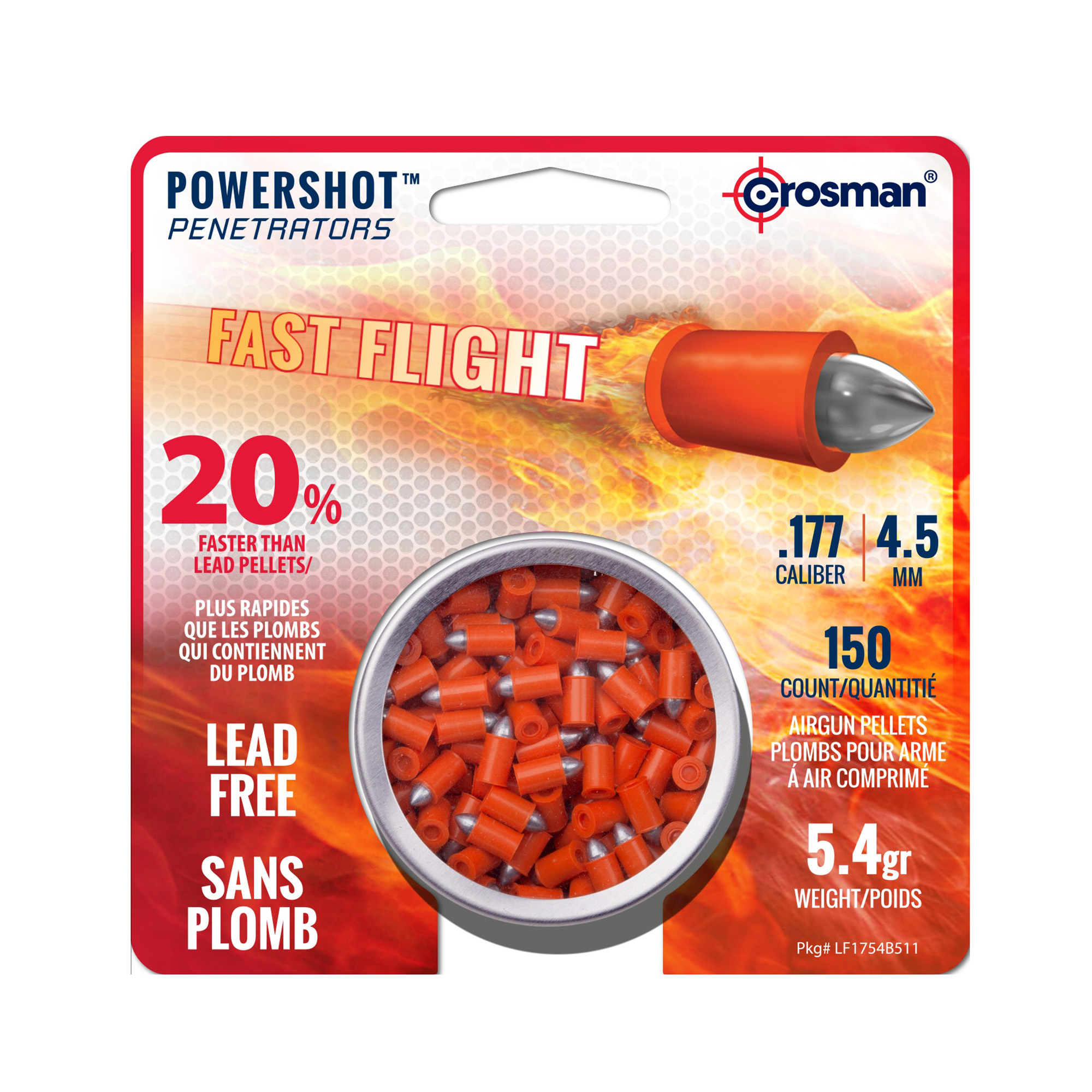 Crosman Powershot 177 Caliber Fast Flight Penetrator Pellets 150 ct LF1754 by Crosman