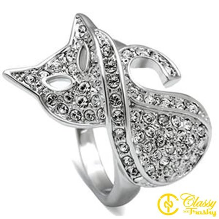Classy Not Trashy® Size 8 Women's Twisted Pave Clear Crystal Cat Ring with Open Eyes