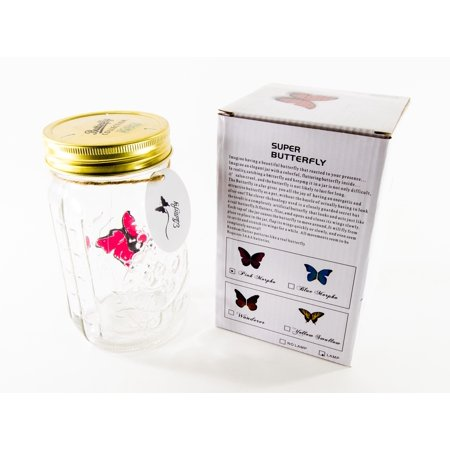 Butterfly Collection - Animated Butterfly in a Jar - Pink Morpho (Christmas In A Jar)