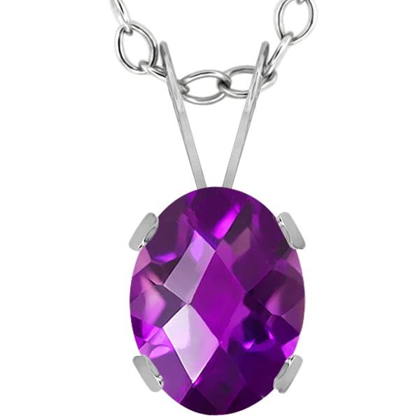 1.00 Ct Oval Checkerboard Purple Amethyst 14K White Gold Pendant