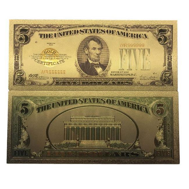 5 Five US $100 Banknotes USD 24k Gold Foil Paper Money Dollars-B1