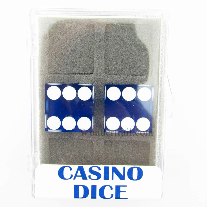 Blue Transparent D6 Precision Casino Dice with White Pips 19mm (3/4in) Pack of 2 Koplow Games