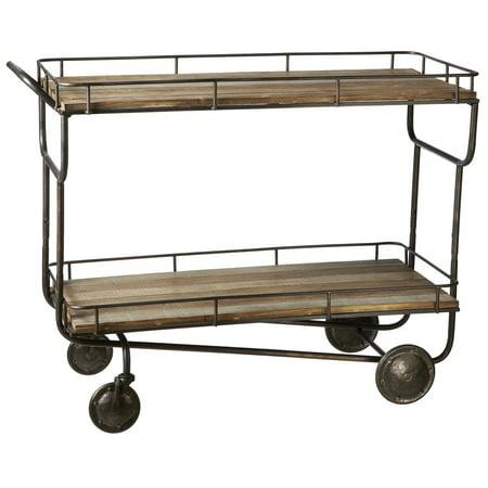 Dark Brown And Black Metal Two Tier Cart On Wheels 47