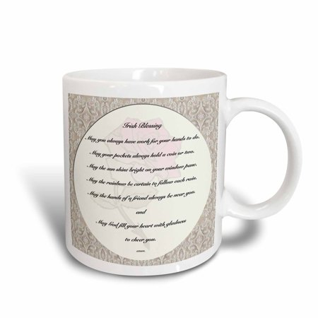 - 3dRose Irish blessing on pale yellow background with a red rose and laced border, Ceramic Mug, 11-ounce