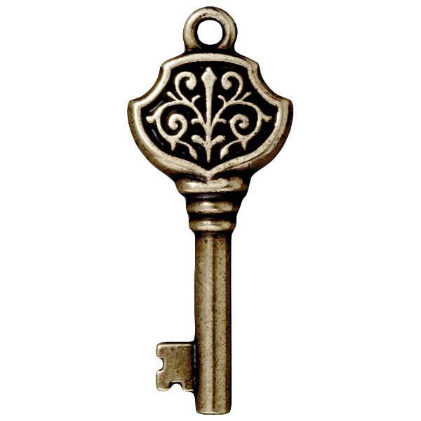 Brass Oxide Finish Lead-Free Pewter Victorian Key Pendant 36mm (1)