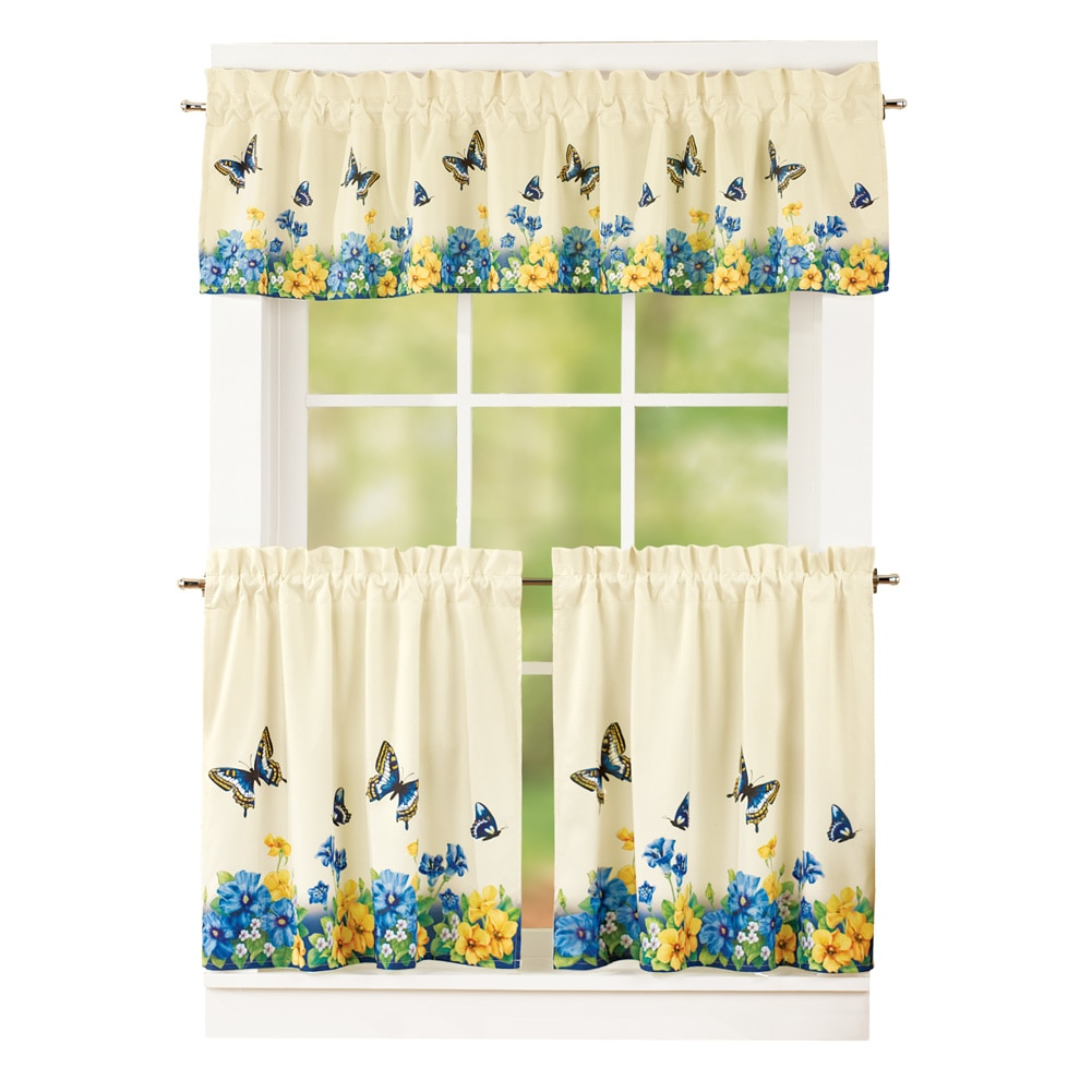 "Vintage Spring Butterfly and Flowers 2 Tier Kitchen Cafe Curtain Set, Rod Pocket Top, 36""L Tiers, Blue"