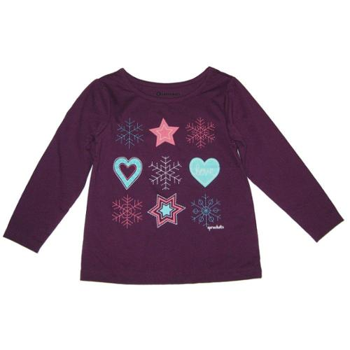 Sprockets Little Girls Violet Star Heart Snowflake Long Sleeved Shirt 4 - 6X