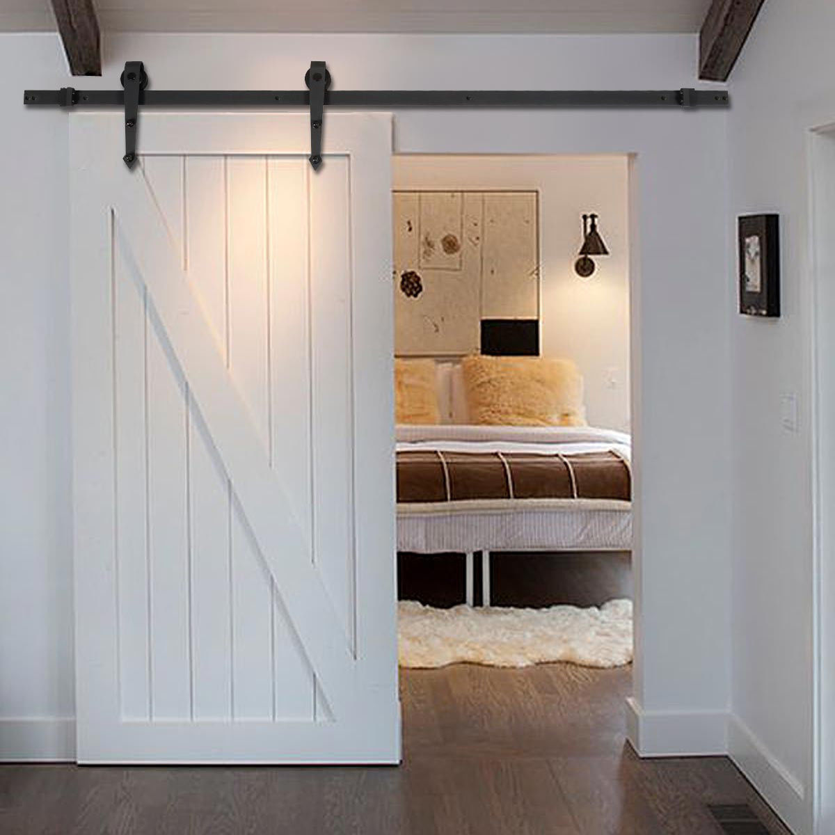 Costway 6 FT Black Modern Antique Style Sliding Barn Wood Door Hardware Closet Set