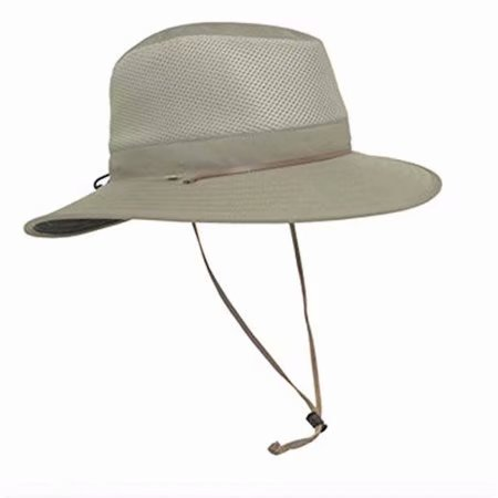 Leather Outback Hat - Outback Mens UV Protection Hat- Khaki One Size, UPF 50+ Sun Rating, Adjustable Sizing, Packable Design By Solar Escape