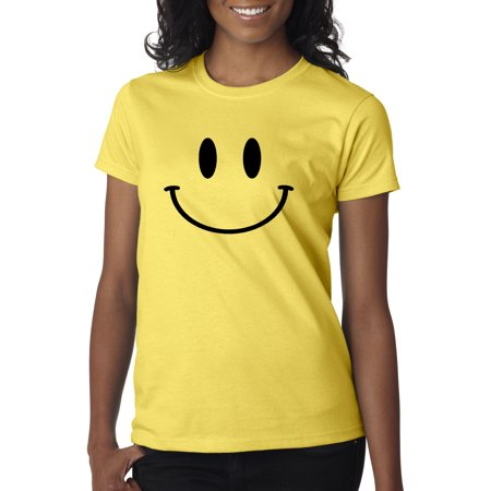Trendy USA 849 - Women's T-Shirt Smiley Face Emoticon Emoji Happy Smile Medium Daisy Yellow - Emoji Smiley Face