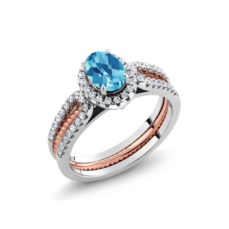 Band Blue Topaz Silver Ring (1.57 Ct Swiss Blue Topaz 925 Two-Tone Sterling Silver Wedding Band Insert Ring )