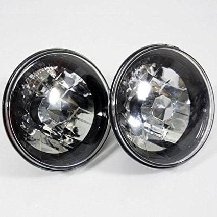 "New world Motoring 7"" Round 6014/6015/6024 Chrome Diamond Crystal Headlights Lamps Conversion"