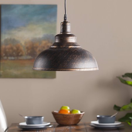 Southern Enterprises Malive Bell Pendant Lamp, Rustic black