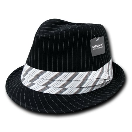 Decky 556-BLK-WHT-06 Pinstriped Fedora Hat, Black White - Small & Medium