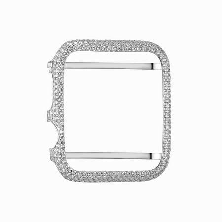 Custom Bezel - Apple Watch Bezel 38mm .925 Sterling Silver Cubic ZIrconia Custom Fit White Gold Finish