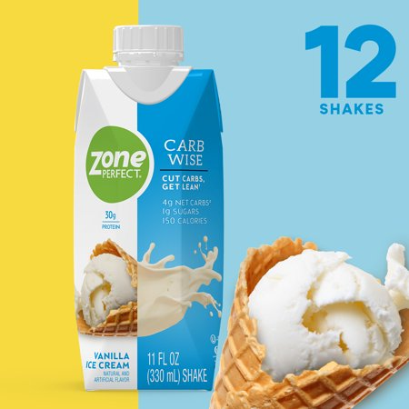 ZonePerfect Carb Wise High-Protein Shakes, Vanilla Ice Cream Flavor, For A Low Carb Lifestyle, With 30g Protein, 11 fl oz, 12