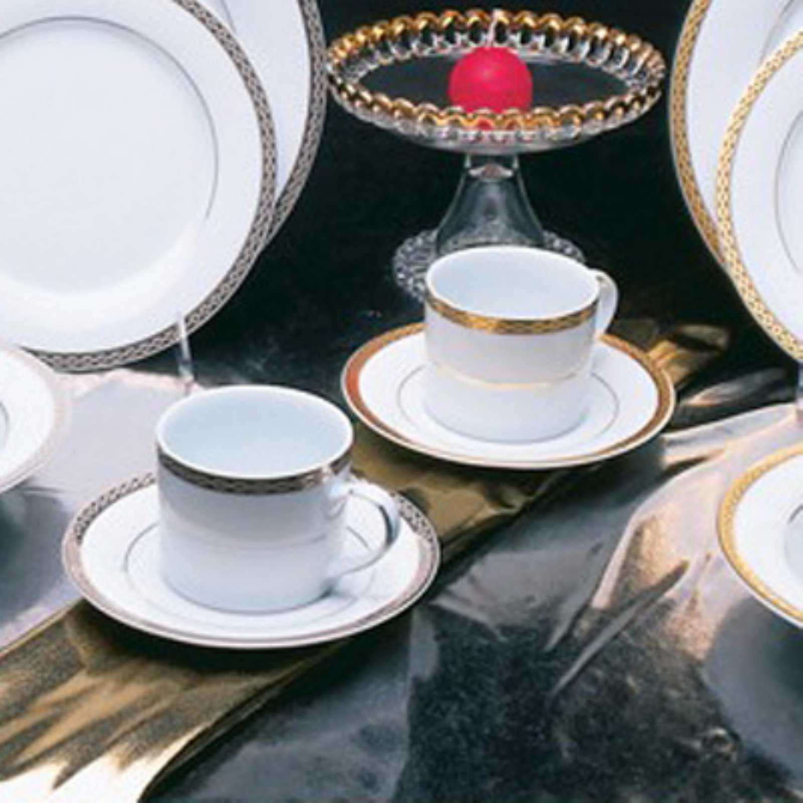 10 Strawberry Street Luxor Tea Cups and Saucer - Set of 6