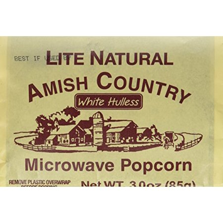 Amish Country Microwave Popcorn 10 Bags White Hulless Lite Natural