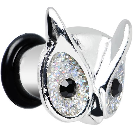 Body Candy Stainless Steel Clear Black Accent Festive Owl Single Flare Plug 0