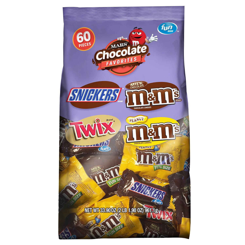Mars Chocolate, Fun Size Halloween Candy Variety Mix, 33.9 Oz, 60 Ct