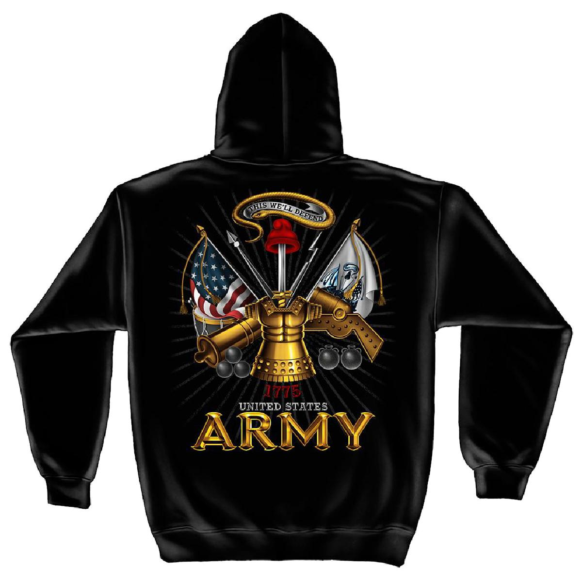 United States Army Antique Armor Hooded Sweatshirt by , Black, 3XL