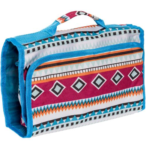 Silverhooks Womens Aztec - Blue Hanging Roll Up Travel Cosmetic Organizer Case