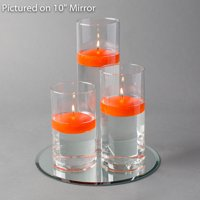 """Eastland Round Mirror 10"""" and Cylinder Vase with 3"""" White Floating Candle Set of 4"""