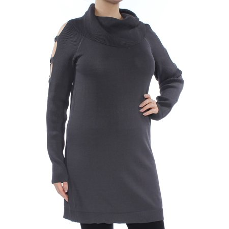 Cowl Grommet (INC Womens Gray Cut Out  Grommet Long Sleeve Cowl Neck Tunic Sweater  Size: L)