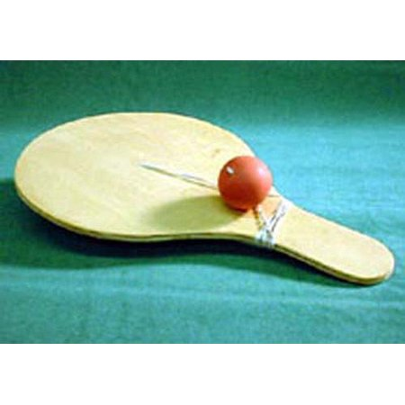 Folk Toys Wood Snapback Paddle Classic Wooden Toy w/ Extra Ball & (Japanese Wooden Toy With Ball And String)