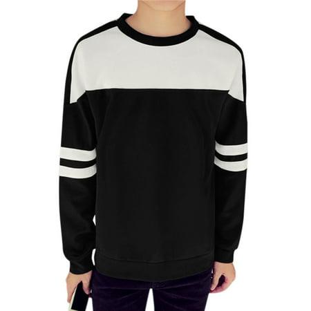 Men Long Sleeves Contrast Color Stripes Detail Casual Tee Shirt Black M