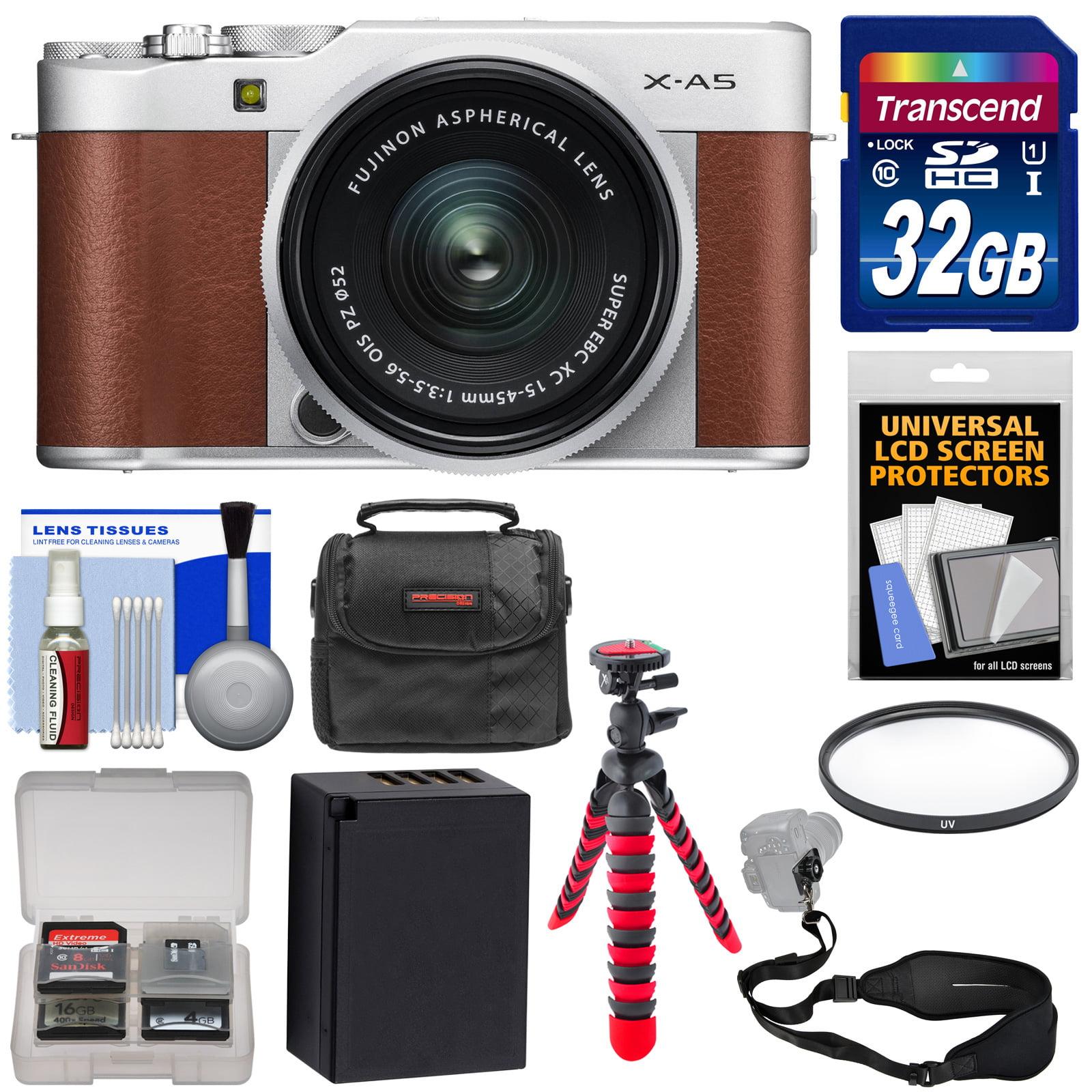 Fujifilm X-A5 Wi-Fi Digital Camera & 15-45mm XC Lens (Brown) with 32GB Card + Battery + Case + Flex Tripod + Strap + Filter + Kit
